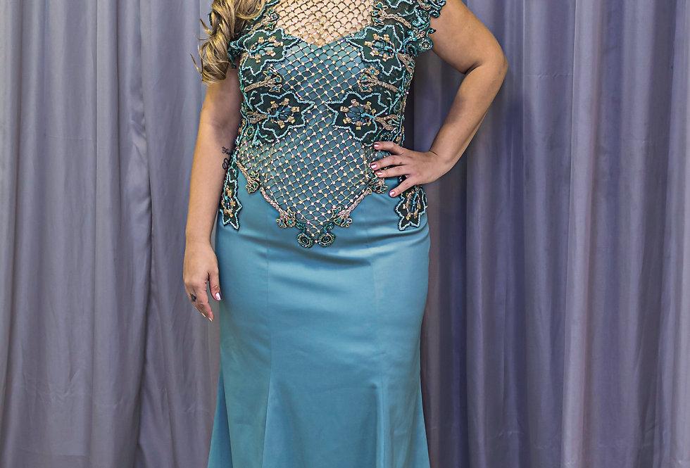Vestido Plus Size Azul Longo 1455 DL