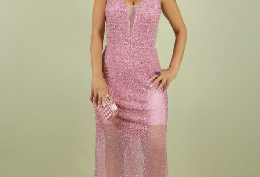 Vestido de Aluguel Longo Bordado Rosa 10730 SB