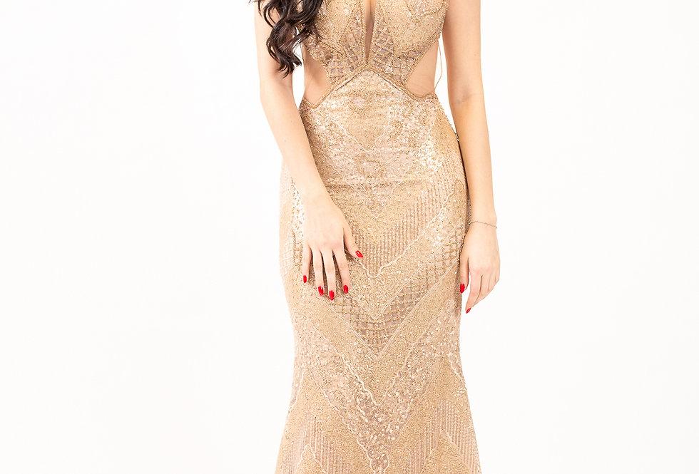 Vestido Dourado Bordado Longo 764 Sapphire