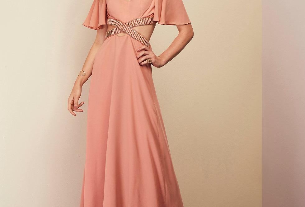 Vestido de Aluguel Rosa Meio Bordado Longo  20363 FD