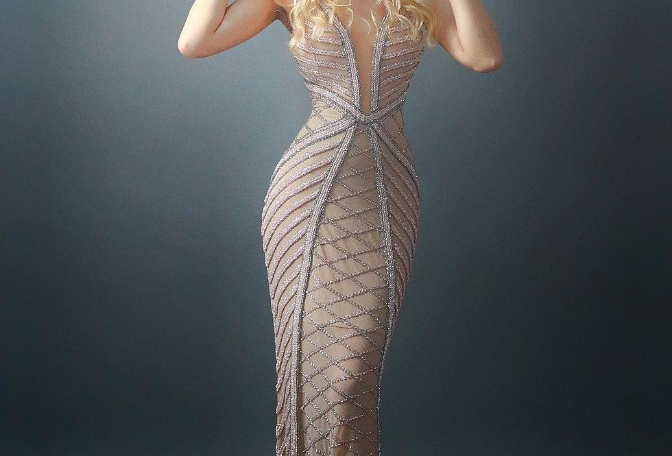 Vestido de Aluguel Longo Bordado EXCLUSIVO Fabíola Amorim