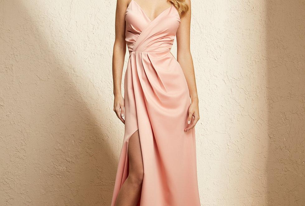 Vestido Rosa Longo Liso 19372 FD