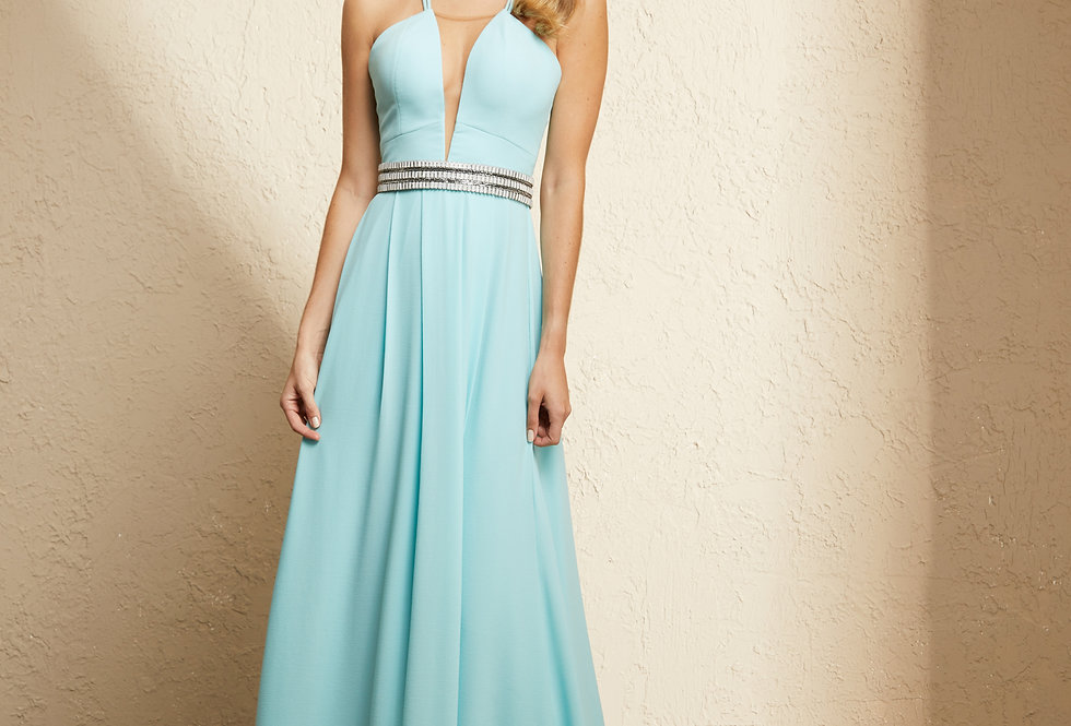 Vestido Azul Claro Longo Liso 19324 FD