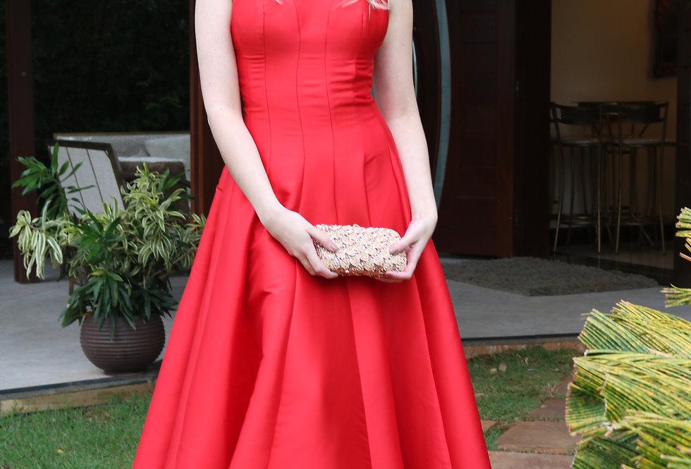 Vestido Vermelho Longo Liso 18346 FD