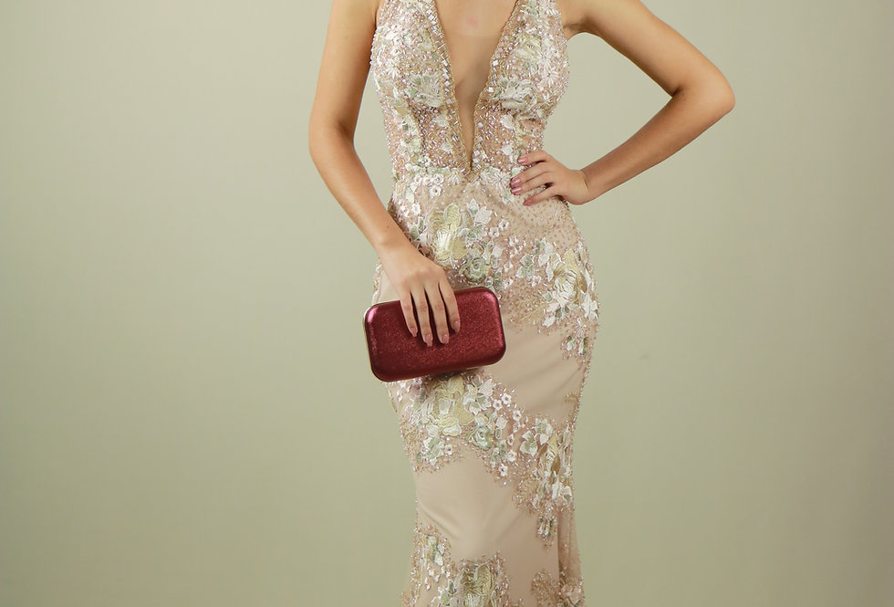 Vestido de Aluguel Longo Rose Renda Bordado 07 SP