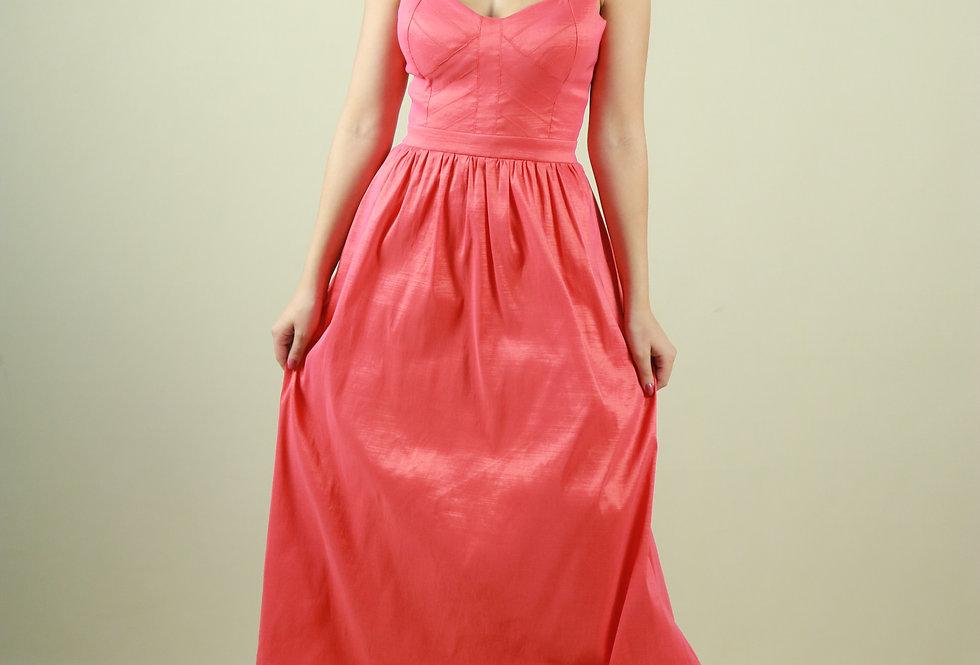 Vestido de Aluguel Longo Coral Liso