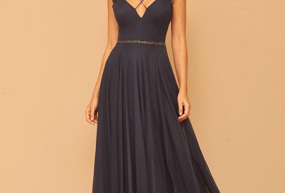 Vestido de Aluguel Longo Tule Azul Marinho VE 833 SH
