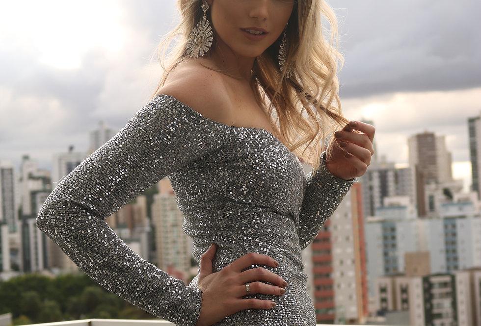 Vestido Prata Longo Liso 16249 DL