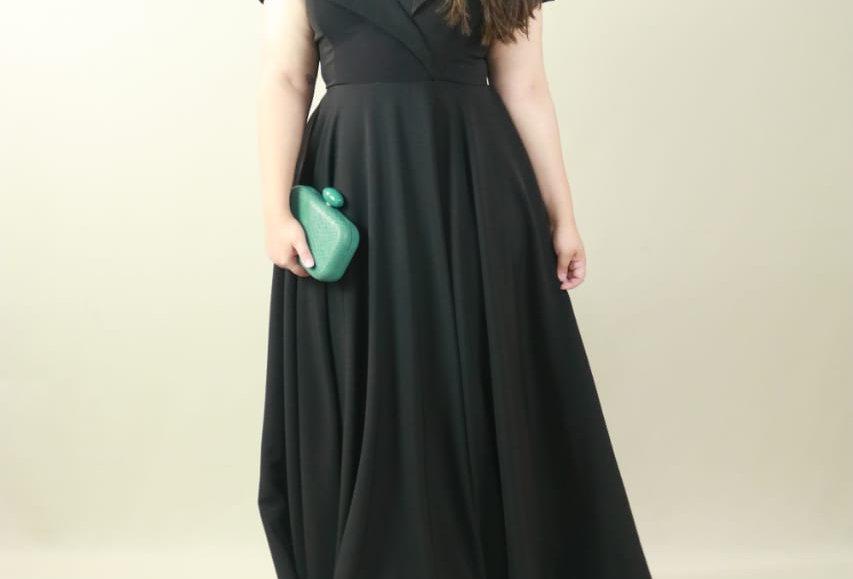 Vestido de Aluguel Preto Longo K634