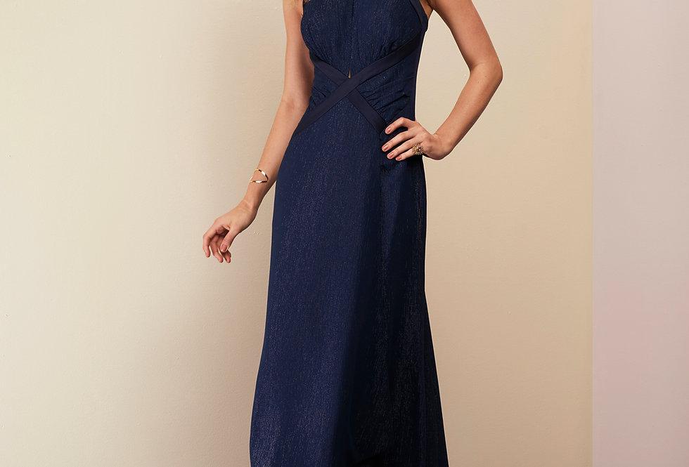 Vestido de Aluguel Azul Marinho Liso Longo  20936 FD