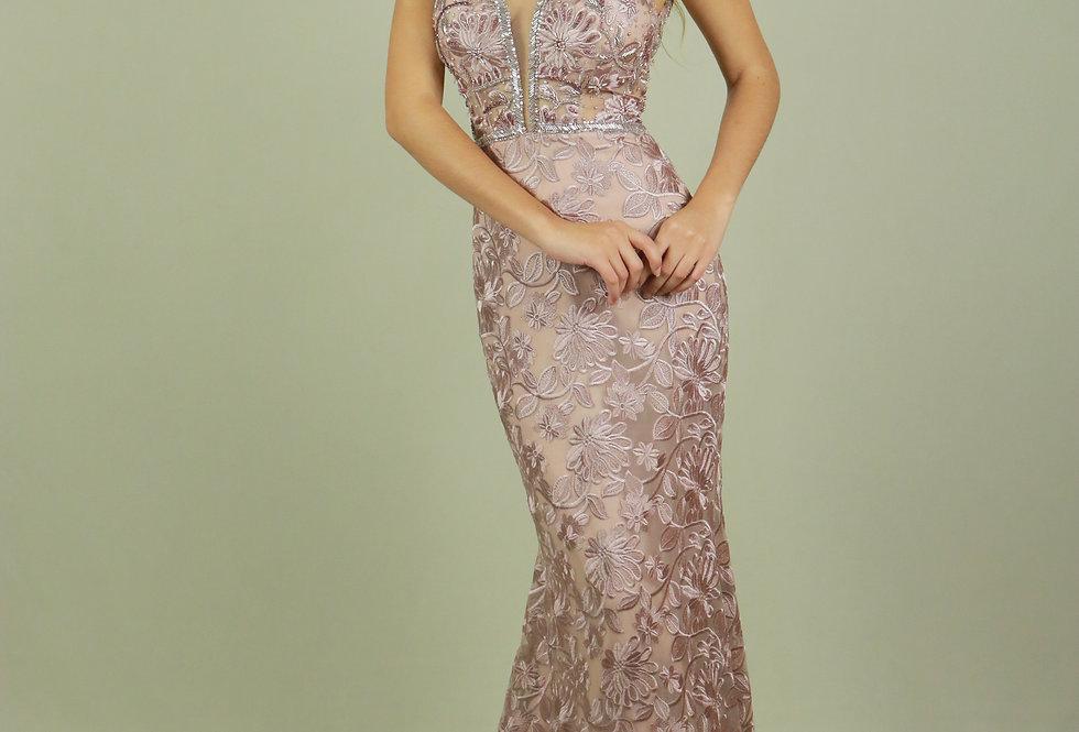 Vestido de Aluguel Longo Rose Paetê