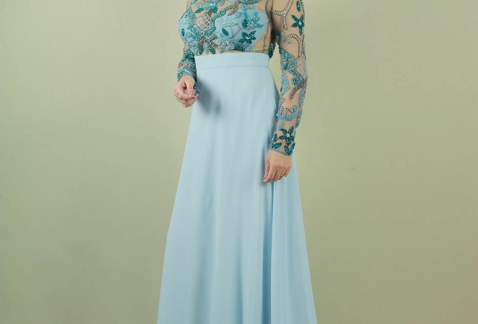 Vestido de Aluguel Longo Azul VE83511711 PT