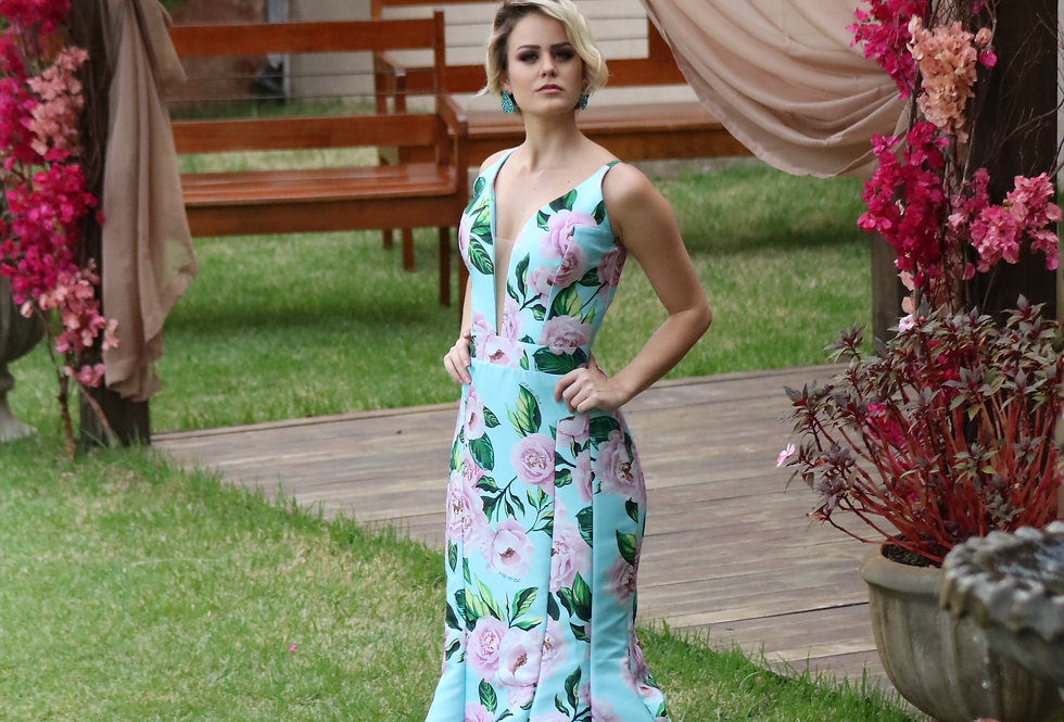 Vestido Floral Longo Estampado 17399 FD