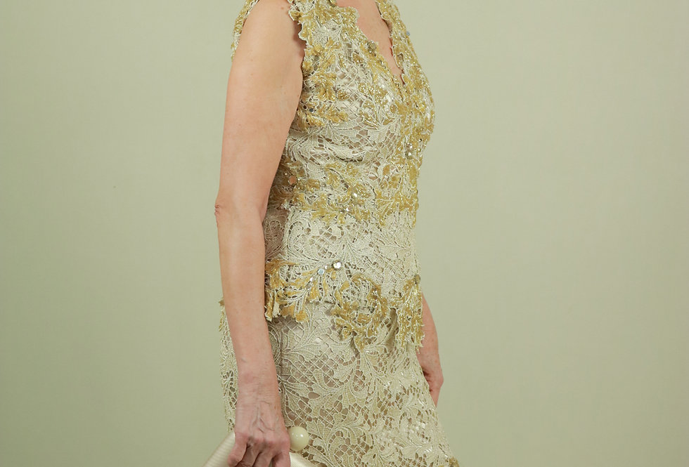 Vestido de Aluguel Longo Dourado Renda VEV17712 CJ FD