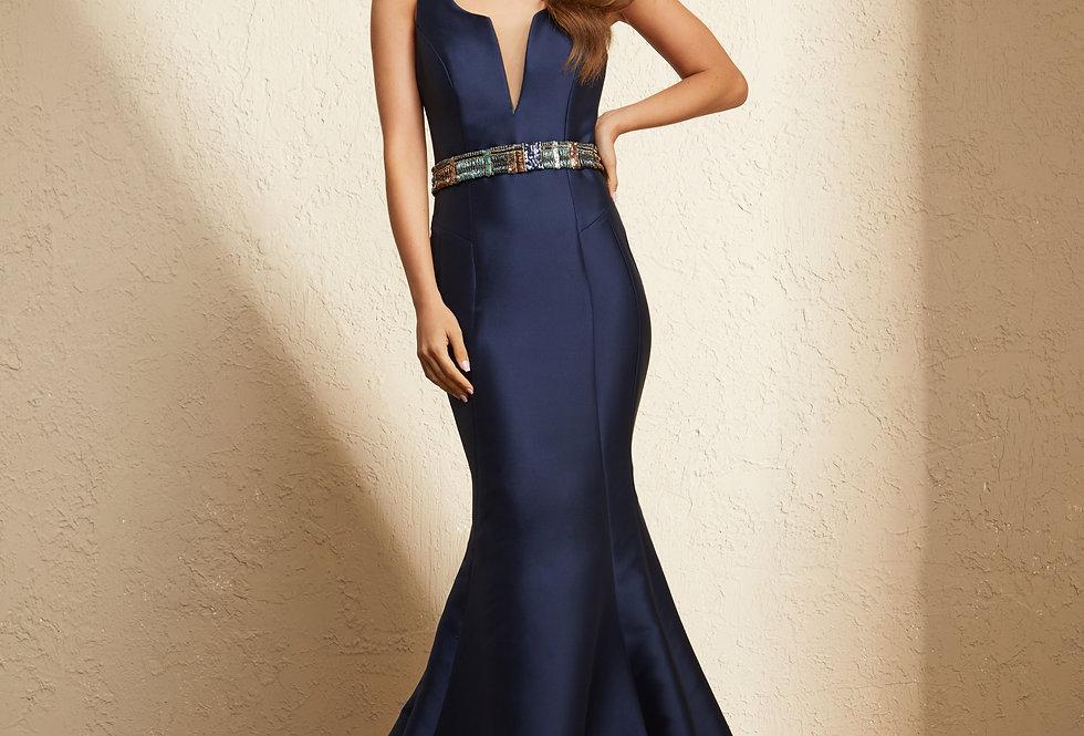 Vestido Azul Marinho Longo Liso 19345 FD