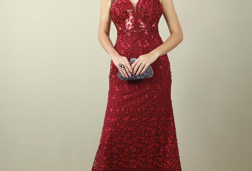 Vestido de Aluguel Longo Marsala Bordado 1123 SP