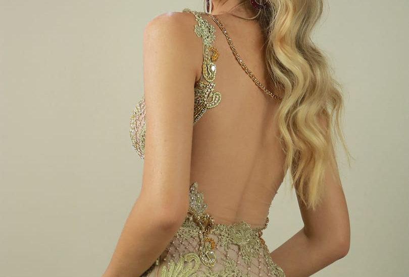 Vestido de Aluguel Dourado Longo Bordado 2192 PT