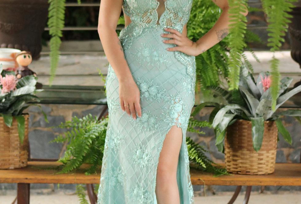 Vestido Verde Tifany Bordado 077 SP