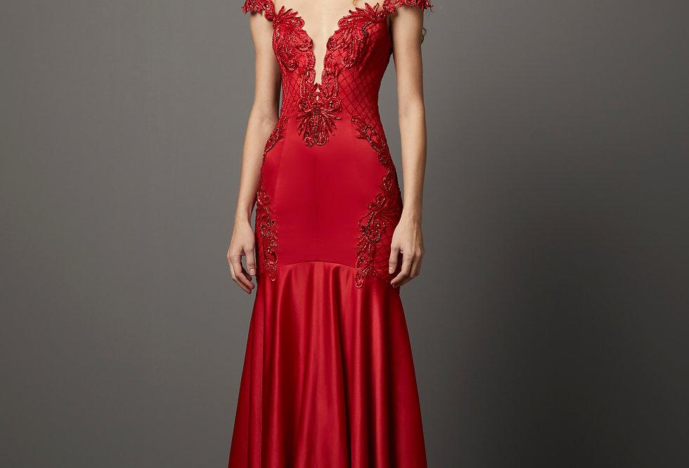 Vestido de Aluguel Liso P13239 PT