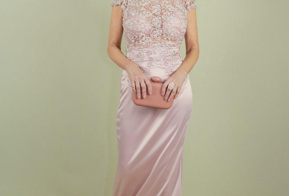 Vestido de Aluguel Rosa Corpo Bordado 762 SP