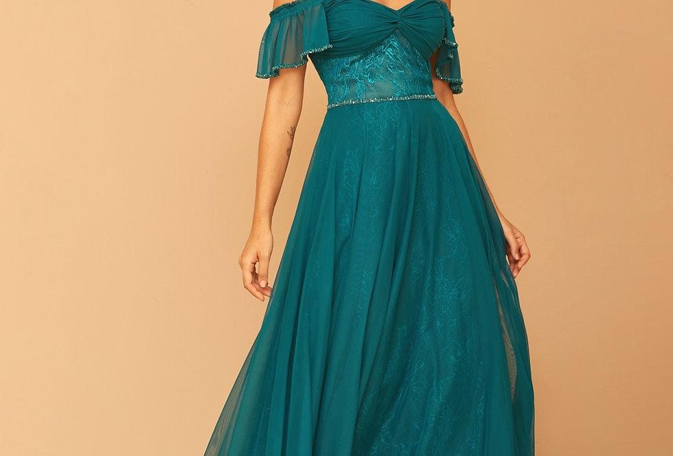 Vestido de Aluguel Longo Azul Petróleo VE 837 SH