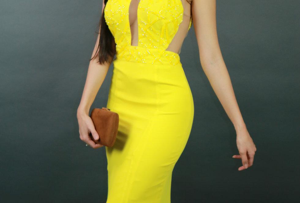 Vestido de Aluguel Longo Amarelo