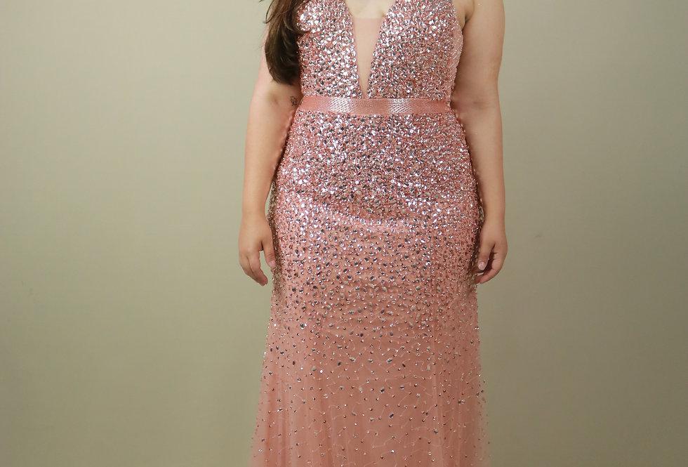 Vestido de Aluguel Longo Rosa 10459 SB