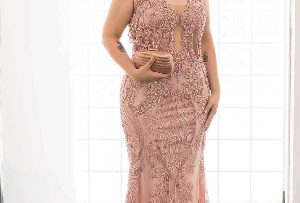 Vestido Rosa Rose Longo Bordado