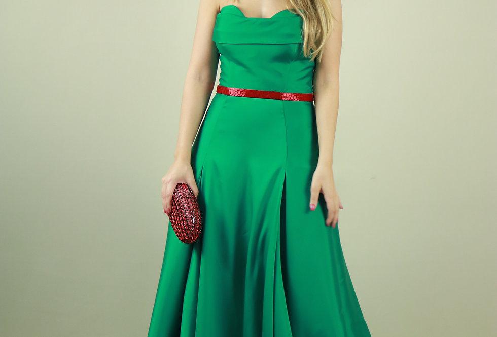 Vestido de Aluguel Verde Longo Liso 18343 FD