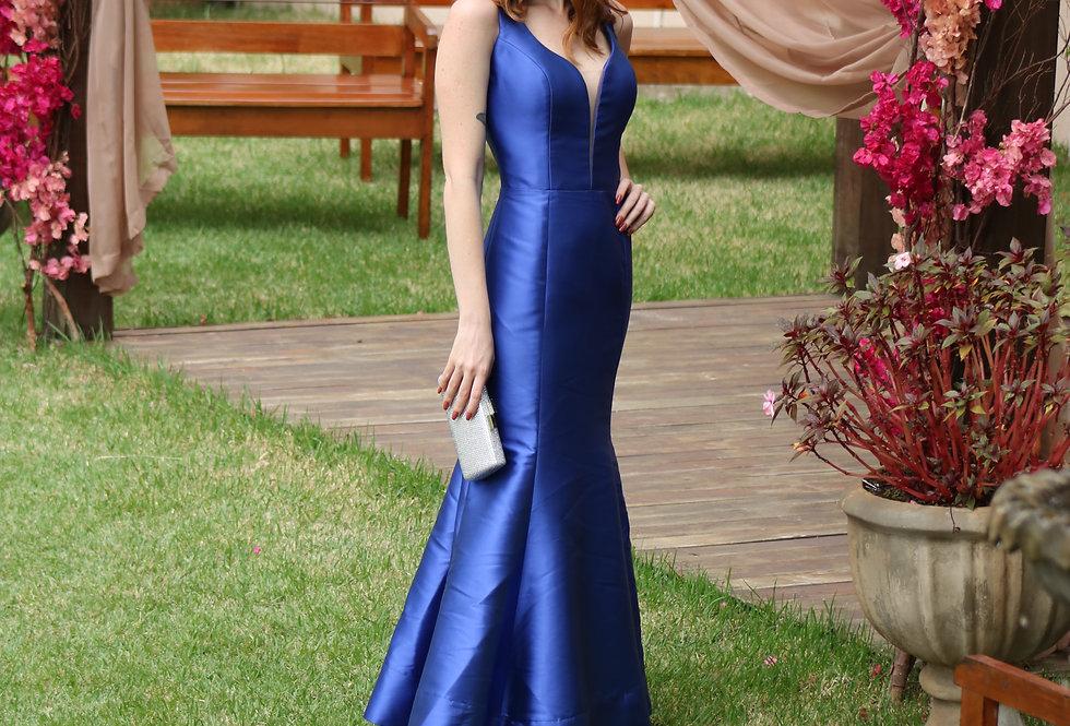 Vestido de Aluguel Azul Royal Longo Liso 31010 FD