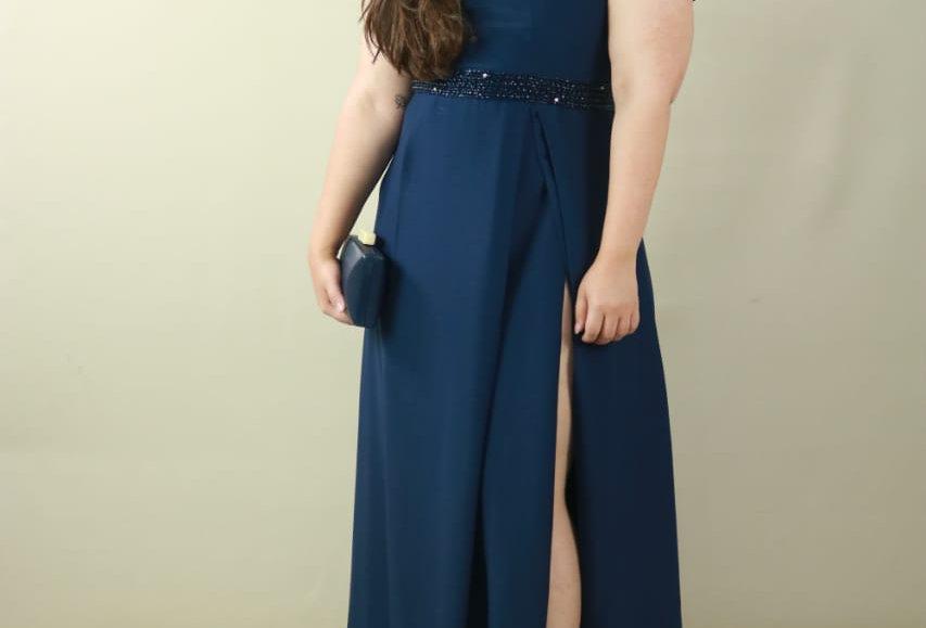 Vestido de Aluguel Azul Longo Marilene