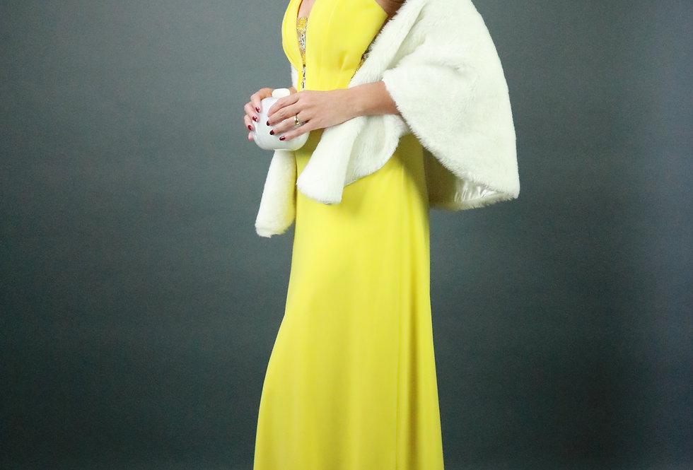 Vestido de Aluguel Longo Liso Amarelo 1206 DL