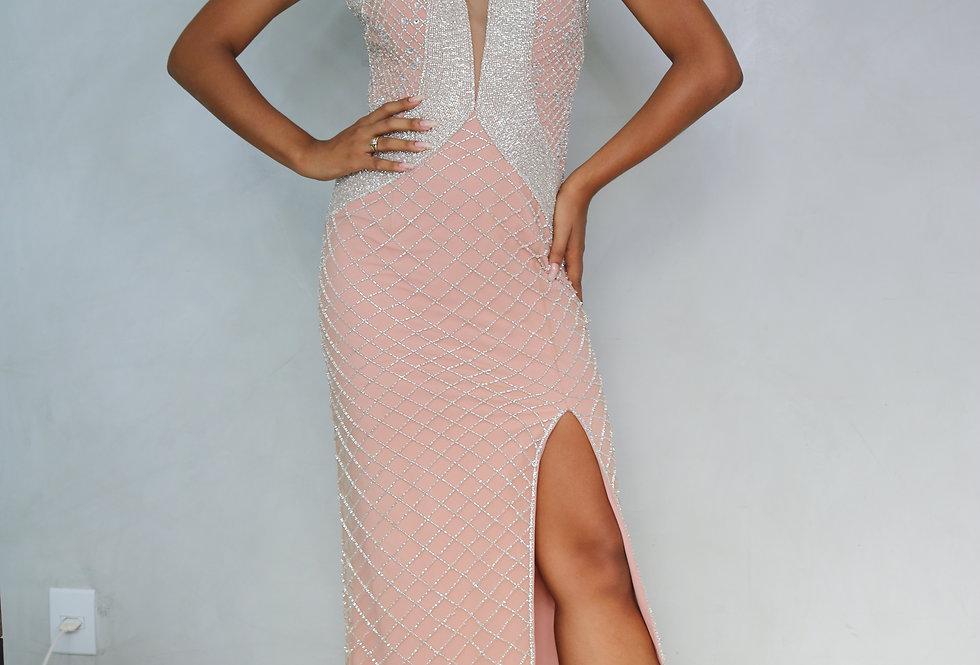 Vestido Rosa Longo Bordado 0076 BL