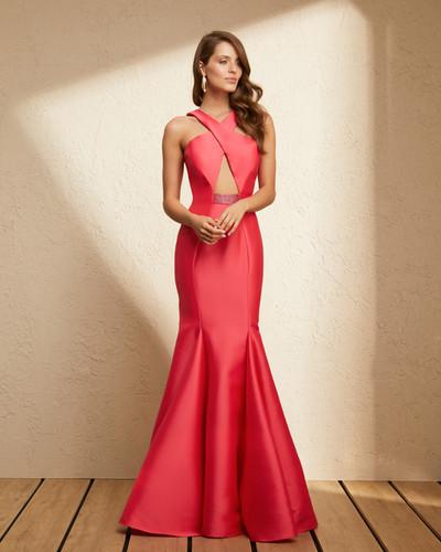198a8f149d Vestido Rosa Cereja Longo Liso 19352 FD