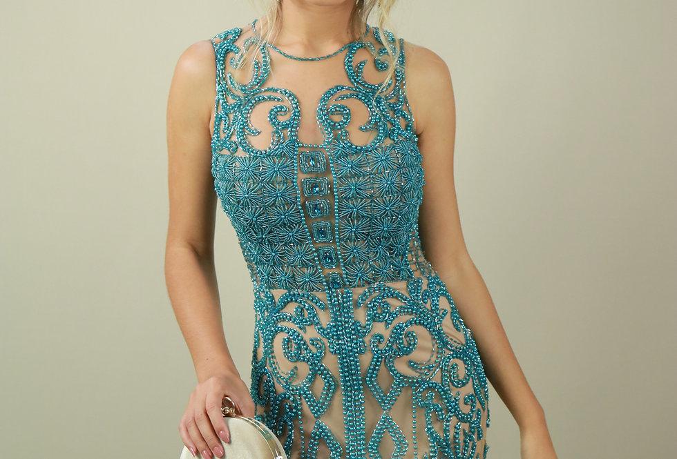 Vestido de Aluguel Longo Azul Bordado 001 FA
