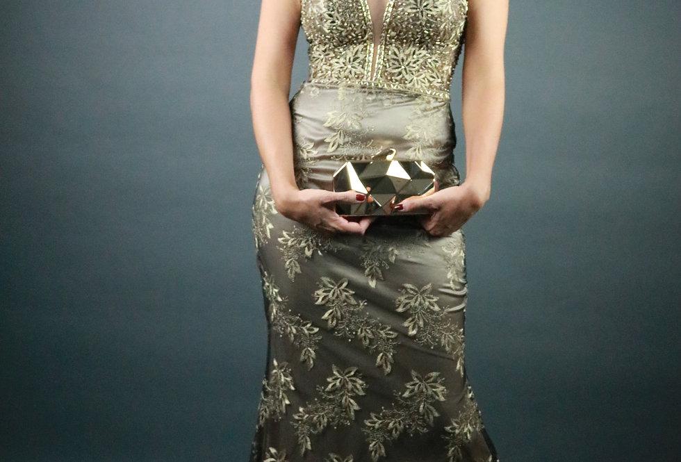 Vestido de Aluguel Longo Liso Dourado 864 SP