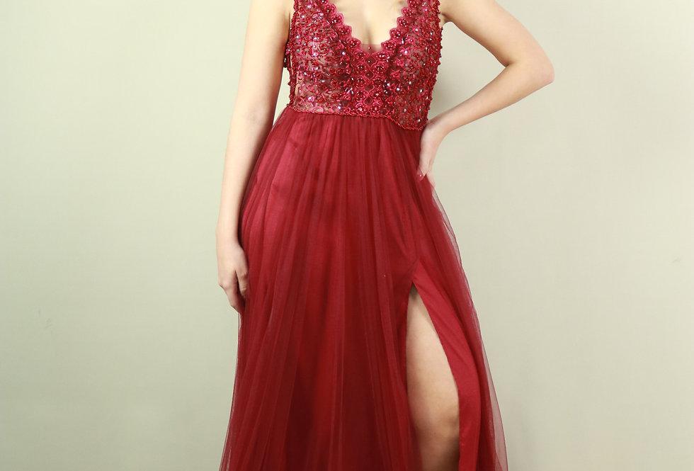 Vestido de Aluguel Longo Marsala 1124