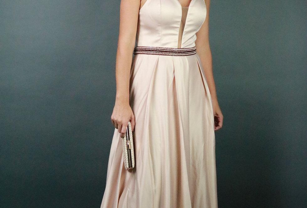 Vestido de Aluguel Longo Liso Rose 31001 FD