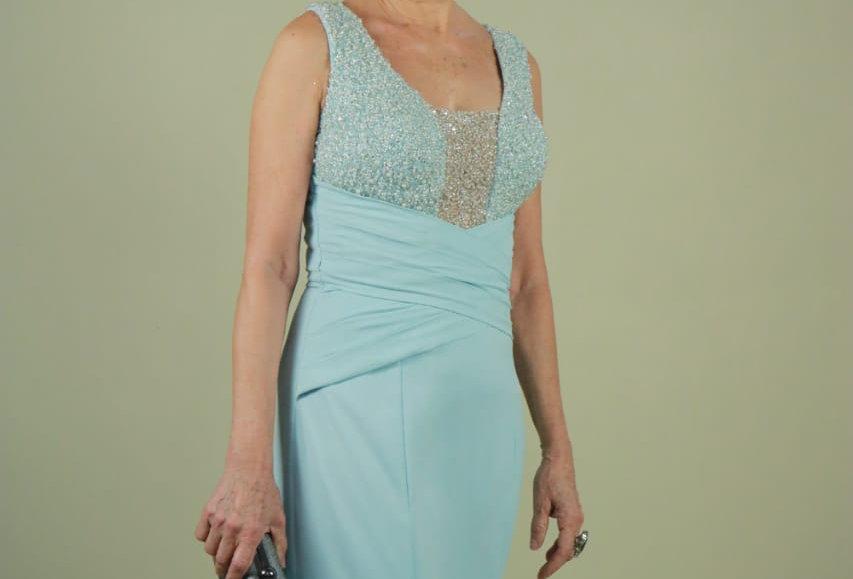 Vestido de Aluguel Longo Azul VE 18-052