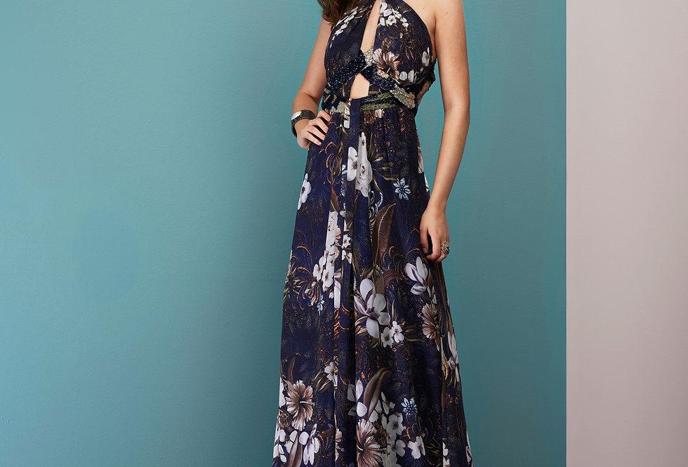 Vestido de Aluguel Azul Estampado Longo 20986 FD