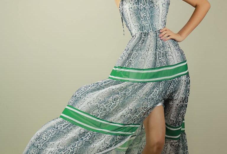 Vestido de Aluguel Estampado Longo 21949 FD