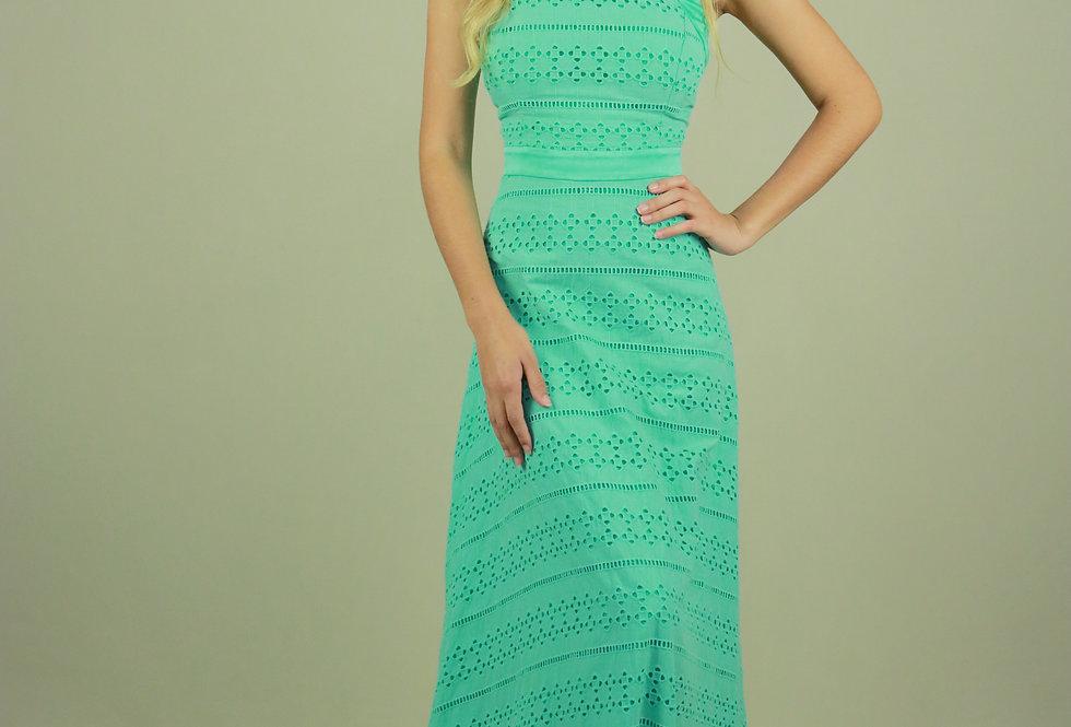 Vestido de Aluguel Longo Verde Agua 21987 FD