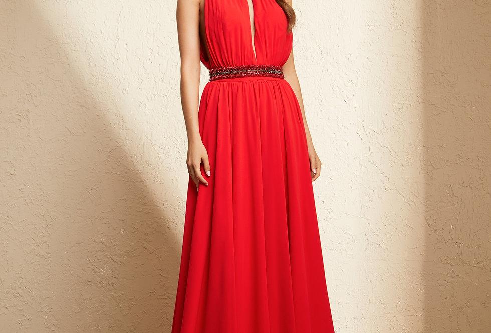Vestido Vermelho Longo Liso 19373 FD