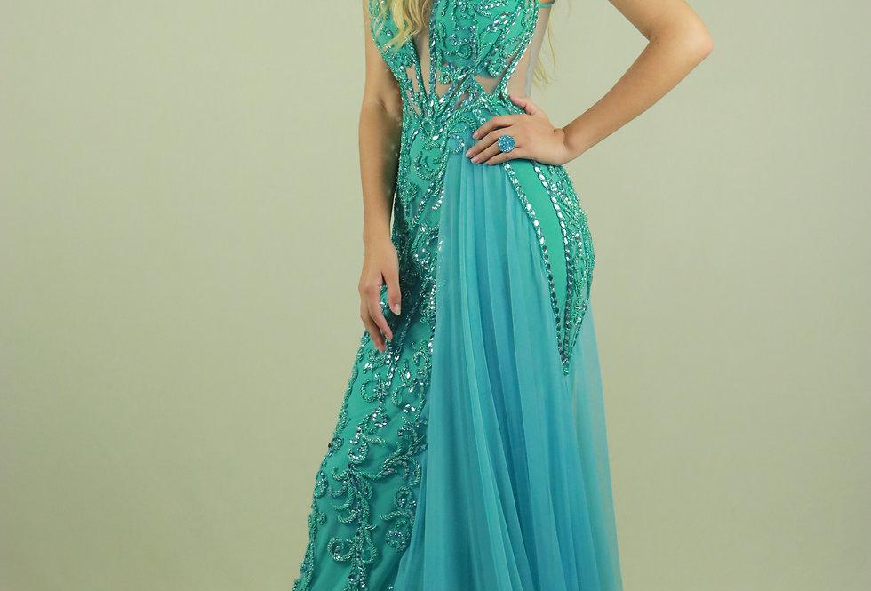 Vestido de Aluguel Longo Verde 1496 LB