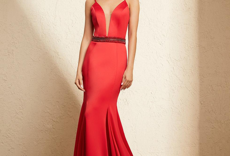 Vestido Vermelho Longo Liso 19364 FD