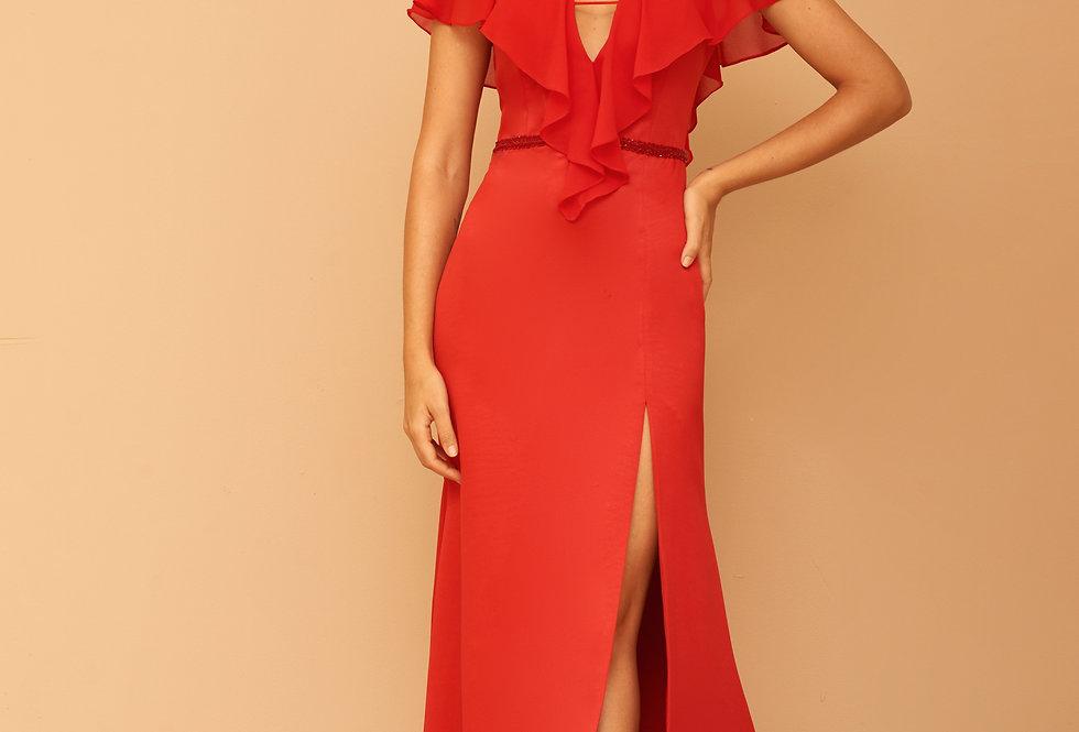 Vestido de Aluguel Longo Liso Vermelho VE 834 012 SH 40