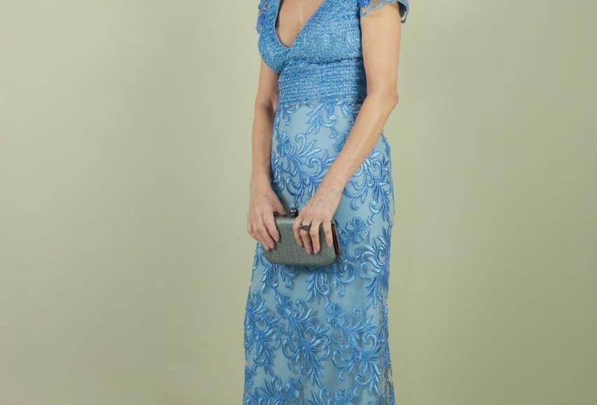 Vestido de Aluguel Azul Longo SH VE611