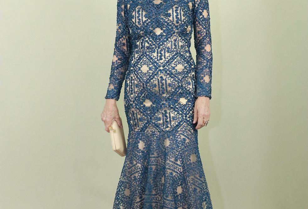 Vestido de Aluguel Azul Marinho Renda CJ VEI 17128