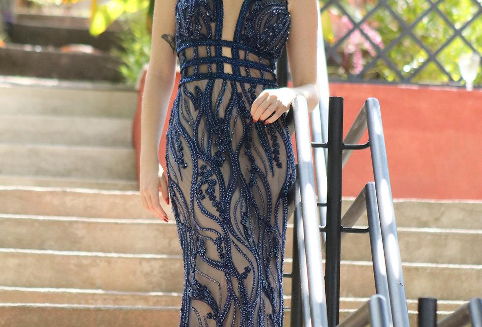 Vestido de Aluguel Azul Longo Bordado 9944101 ED