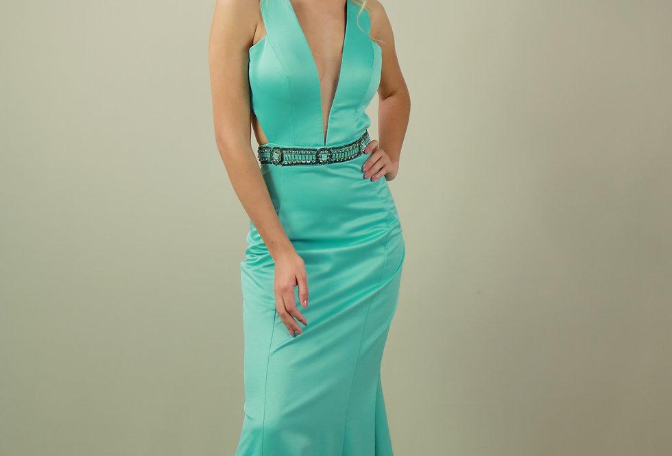 Vestido de Aluguel Longo Liso Verde Água 17306 FD
